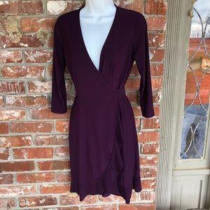 Tash + Sophie deep burgundy wrap dress size S